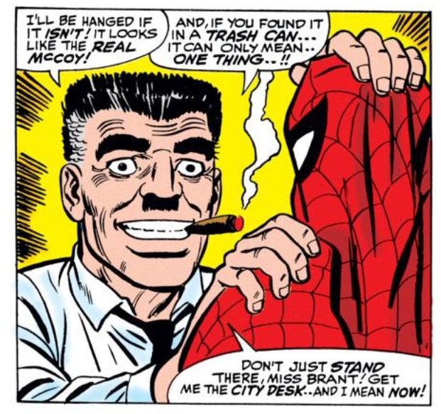 A gleeful JJJ in Amazing Spider-Man #50 (John Romita Sr., pencils; Mickey Demeo, inks)
