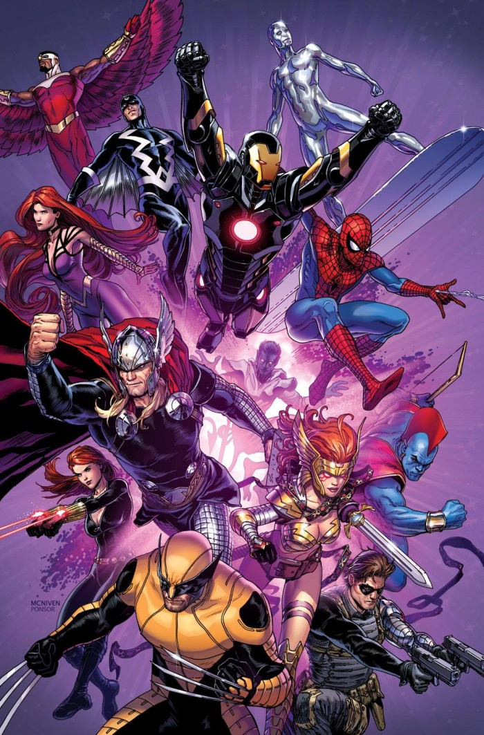 "Steve McNiven's promotions artwork for Inhumanity, which has doubled as NYCC artwork, features ""vintage"" Spidey. Hmm...."