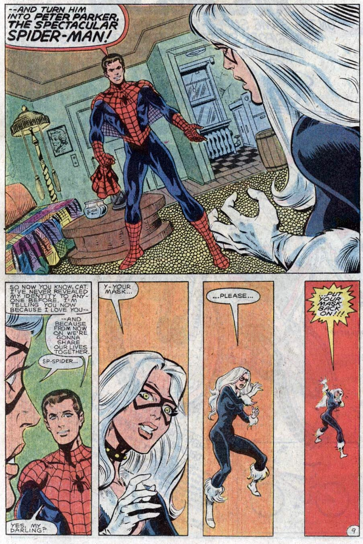 The spectacular spiderman black cat kiss