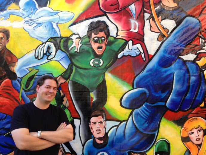 A really awesome collage of comic book/cartoon characters greeted visitors as they walked in.