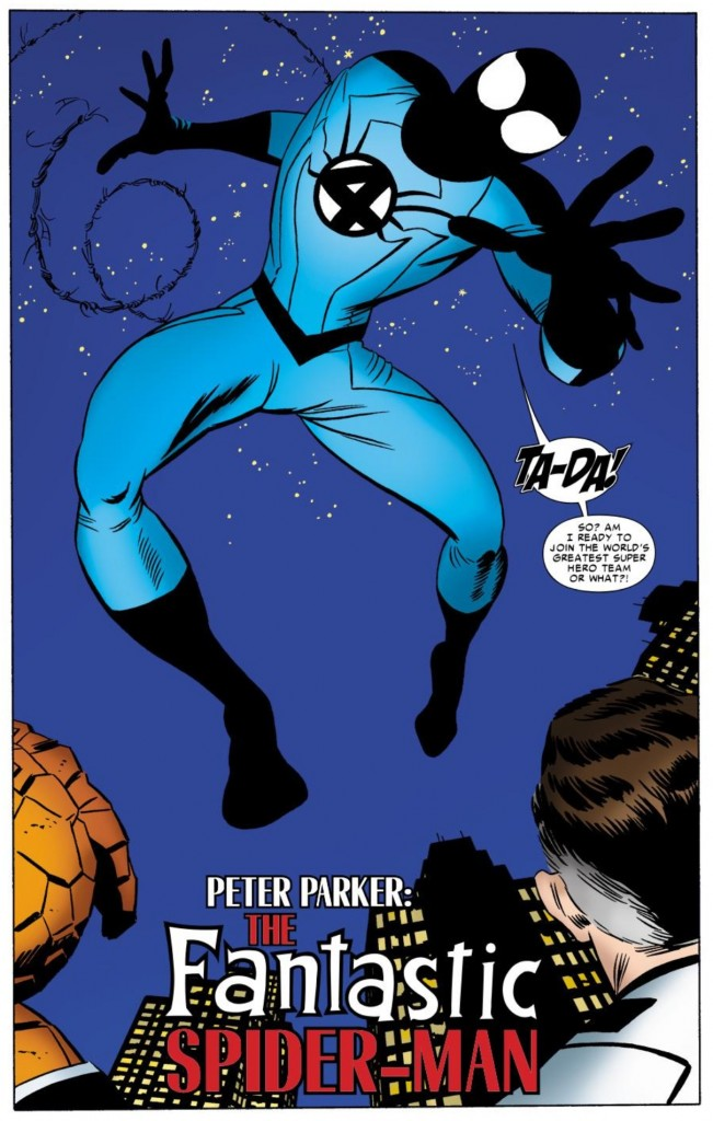 Spider-Man wears the wrong Fantastic Four uniform in Amazing Spider-Man #658 (Javier Pulido, pencils/inks)